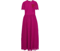 Embroidered Guipure Lace Maxi Dress Magenta