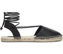 Lace-up Leather And Canvas Espadrilles Dark Brown