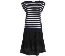 Paneled striped silk and cotton-blend and poplin dress