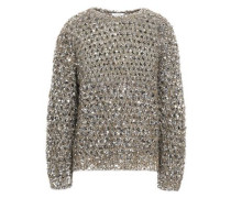 Sequined Brushed Open-knit Sweater Mushroom