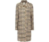 Woman Frayed Metallic Tweed Coat Neutral
