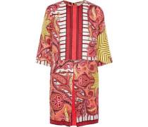 Pleated Printed Silk-faille Mini Dress Multicolor