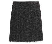 Lace-trimmed snake-print silk-georgette mini skirt