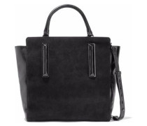 Nubuck and crinkled leather tote