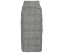 Embroidered Prince Of Wales Checked Wool-blend Midi Skirt Black