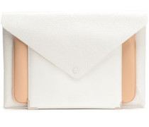 Convertible Textured-leather Envelope Clutch White Size --