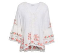 Kamile Embroidered Crinkled Cotton-gauze Blouse Ivory