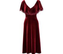Point D'esprit-trimmed Ruffled Velvet Midi Dress Claret