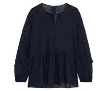 June Guipure Lace-trimmed Cotton-poplin Blouse Midnight Blue