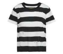 Distressed Striped Stretch-knit T-shirt Black