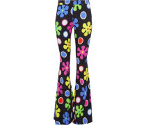 Printed Crepe Flared Pants Multicolor
