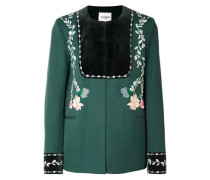 Rosie Velvet-paneled Embroidered Wool-twill Jacket Emerald