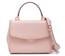 Eyelet-embellished Scalloped Leather Tote Baby Pink Size --