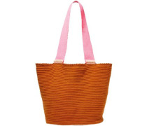 Grosgrain-trimmed Color-block Crocheted Tote Brick Size --