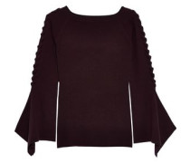 Lace-up Ribbed Merino Wool-blend Sweater Grape