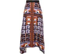 Asymmetric Silk-twill Midi Skirt Lavender Size 12