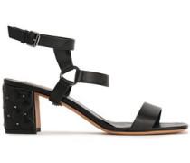 Rockstud Spike Leather Sandals Black