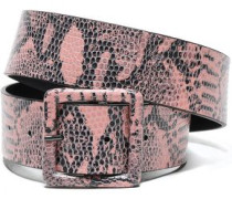 Snake-effect Leather Belt Baby Pink