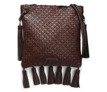 Tasseled Woven Leather Shoulder Bag Chocolate Size --