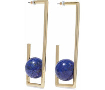 Gold-tone lapis lazuli earrings