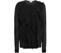Ruffled-trimmed Silk-blend Chiffon Blouse Black