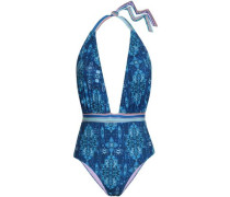 Inca Printed Halterneck Swimsuit Royal Blue