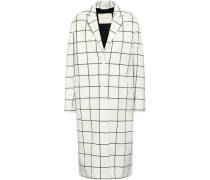 Checked Cotton-blend Jacquard Coat Off-white
