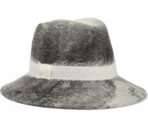 Bianca brushed woven-trimmed wool-felt fedora