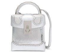 Snake-effect And Metallic Textured-leather Shoulder Bag Silver Size --