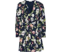 Hannah Floral-print Sateen Mini Wrap Dress Navy