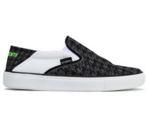 Houndstooth Canvas Slip-on Sneakers Black