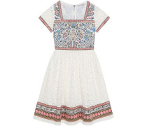 Embroidered cotton-blend and lace paneled dress