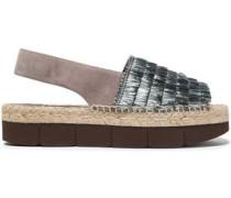 Fringed raffia and suede platform sandals