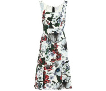 Flared Floral-print Ponte Dress White