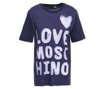 Printed Cotton-jersey T-shirt Indigo
