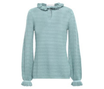 Halima Ruffle-trimmed Pointelle-knit Sweater Teal Size 14