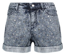 Crystal-embellished bleached denim shorts