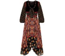 Asymmetric Printed Silk Crepe De Chine And Jacquard Midi Dress Black