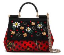 Embellished Lizard-effect Leather Shoulder Bag Black Size --