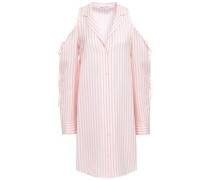Cold-shoulder Striped Twill Mini Shirt Dress Pastel Pink