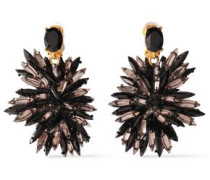Gold-tone, Crystal And Beaded Clip Earrings Black Size --