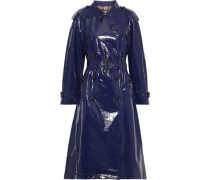 Woman Belted Glossed-cotton Trench Coat Navy