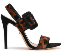 Suede-trimmed Leopard-print Calf Hair Sandals Animal Print