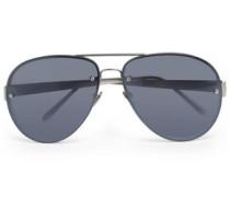 Aviator-style silver-tone and acetate sunglasses