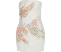 Strapless Embellished Tweed Mini Dress Ivory