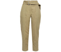 Infelasa Cropped Linen And Cotton-blend Tapered Pants Sage Green