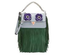 Appliquéd Fringed Leather Shoulder Bag Sky Blue Size --