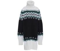 Jacquard-knit Turtleneck Sweater Black