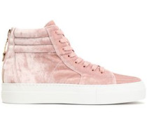 Embellished velvet high-top sneakers