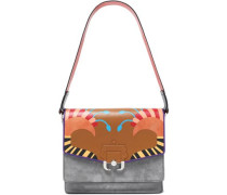 Paneled suede and printed leather shoulder bag